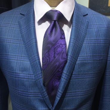 Classic Navy plaid suit for professional wardobe
